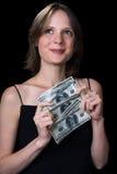 La ragazza ed i soldi fotografia stock libera da diritti