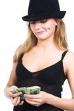 La ragazza ed i soldi fotografie stock