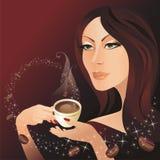 La ragazza ed il caffè Fotografia Stock