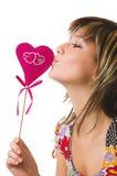 La ragazza ed il cuore allegri Fotografia Stock Libera da Diritti