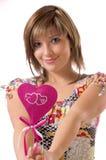 La ragazza ed il cuore allegri Immagini Stock Libere da Diritti