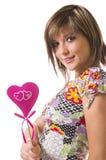 La ragazza ed il cuore allegri Fotografia Stock