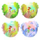 La ragazza ed il tipo su una bici guidano nel parco Sport all'aperto di attività Di guida della bicicletta molla in qualunque mom Fotografia Stock