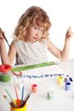 La ragazza, estrae la vernice Fotografie Stock
