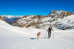 La ragazza fa l'alpinismo dello sci con il cane Fotografia Stock Libera da Diritti