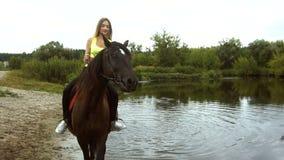 La ragazza felice monta un cavallo sul lago video d archivio
