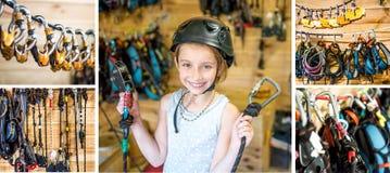 La ragazza fornita pronta per le alte corde scorre, collage Immagine Stock Libera da Diritti