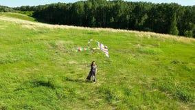 La ragazza funziona con un aquilone su un campo verde Risata e gioia, umore festivo Vacanza estiva archivi video
