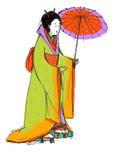La ragazza giapponese con l'ombrello. Fotografie Stock