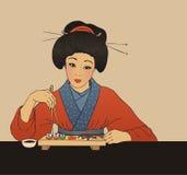 La ragazza giapponese tradizionale gode dei sushi Illustrazione Vettoriale
