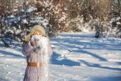 La ragazza gode della neve Fotografie Stock
