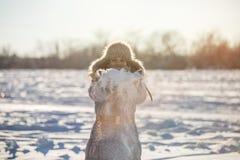 La ragazza gode della neve Fotografia Stock Libera da Diritti