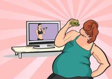 La ragazza grassa vuole perdere il peso Fotografia Stock Libera da Diritti