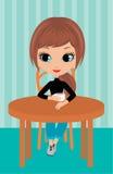 La ragazza graziosa beve il caffè illustrazione di stock