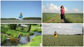 La ragazza graziosa gode dello svago dell'estate in natura Raccolta della clip stock footage