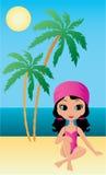 La ragazza graziosa si siede su una spiaggia royalty illustrazione gratis