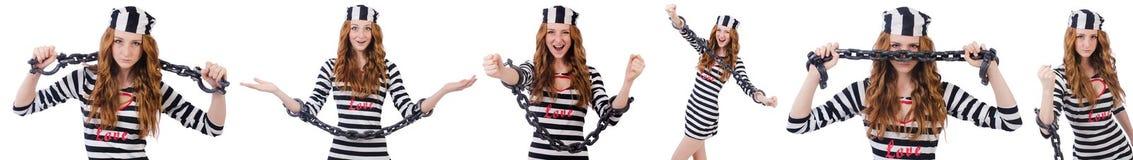 La ragazza graziosa in uniforme del prigioniero isolata su bianco Immagine Stock Libera da Diritti