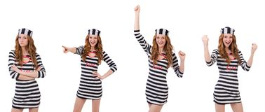 La ragazza graziosa in uniforme del prigioniero isolata su bianco Immagini Stock Libere da Diritti