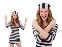 La ragazza graziosa in uniforme del prigioniero isolata su bianco Fotografia Stock Libera da Diritti