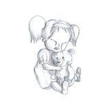 La ragazza gridante con orsacchiotto-sopporta Immagini Stock Libere da Diritti