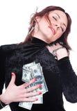 La ragazza ha trovato i soldi immagini stock