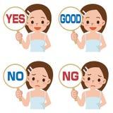 La ragazza ha un piatto del segno rispondere a corretto o a sbagliato Immagini Stock
