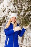 La ragazza ha un resto nel legno dell'inverno immagine stock