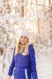 La ragazza ha un resto nel legno dell'inverno immagini stock libere da diritti