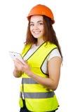 La ragazza il costruttore in un casco  Fotografia Stock Libera da Diritti