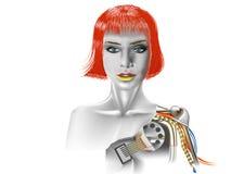La ragazza il robot Fotografie Stock Libere da Diritti