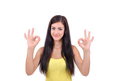 La ragazza indica che tutta è bene Immagini Stock Libere da Diritti