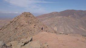 La ragazza insieme al suo cucciolo del cane esamina il panorama sulla sommità di una montagna vulcanica stock footage