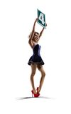 La ragazza isolata del ring sta tenendo il numero 4 Immagine Stock