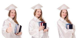La ragazza laureata con il diploma isolato su bianco Fotografie Stock Libere da Diritti
