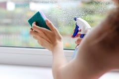 La ragazza lava la finestra con una spugna e spruzza lo spruzzo clo Fotografia Stock