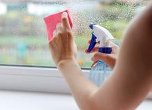 La ragazza lava la finestra con uno straccio e spruzzo di spruzzatura fine Fotografia Stock Libera da Diritti