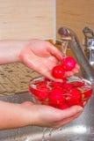 La ragazza lava un ravanello Immagini Stock