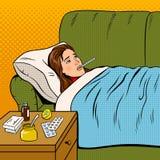 La ragazza malata di influenza si trova a letto vettore di Pop art Fotografia Stock Libera da Diritti
