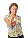 La ragazza mostra il gesto Fotografia Stock Libera da Diritti
