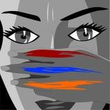 La ragazza mostra un gesto, dita ha dipinto sotto la bandiera dell'Armenia royalty illustrazione gratis
