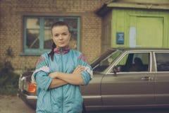 La ragazza negli anni '90 Immagine Stock