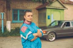 La ragazza negli anni '90 Fotografie Stock Libere da Diritti