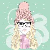 La ragazza nel cappello hipster Ragazza in vetri Vettore Fotografia Stock