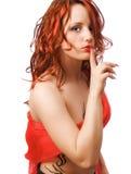 La ragazza nel colore rosso Immagine Stock Libera da Diritti