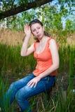 La ragazza nel giro della natura Fotografie Stock Libere da Diritti