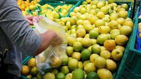 La ragazza nel supermercato sceglie i limoni dell'agrume per comprare archivi video