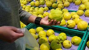 La ragazza nel supermercato sceglie i limoni dell'agrume per comprare video d archivio