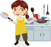 La ragazza nella cucina Fotografie Stock Libere da Diritti