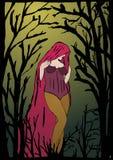 La ragazza nella foresta scura illustrazione vettoriale