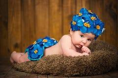 La ragazza neonata in un cappuccio del blu fiorisce la primaverina Fotografia Stock
